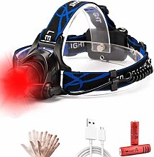 LED Head Torch with Red Light, Zoomable Headlamp