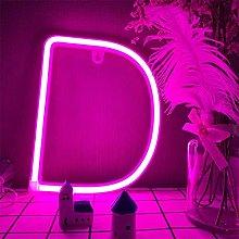LED Letter D Neon Sign Lights Alphabet Letter