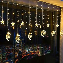 LED Light Curtain LED String Lights Star with USB Port Charging and Battery Operated Warm White String Lights for Indoor and Outdoor Decor Rooms Christmas Birthday Garden - Langray