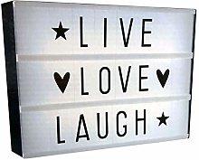 LED Lightbox (size A4) LIVE, LOVE, LAUGH (30cm x