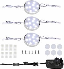 LED Linkable Puck Lights,3 Pack Wired Under