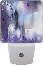 LED Night Light Plug in Walls, Unicorn Glitter