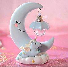 LED Night Light Resin Moon Unicorn Cartoon Baby