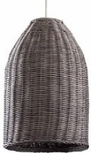 LED Pendant Shade Rattan Wicker Ceiling Grey - No