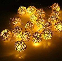 LED Rattan Ball String Lights, DINOWIN 20 LED Ball