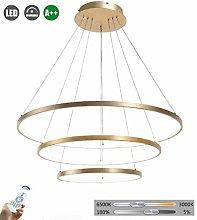 LED Round Modern Chandelier 3 Ring Bedroom Pendant