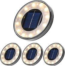 LED Solar Floor Lamp 4 Pack, 12 LEDs Solar Outdoor