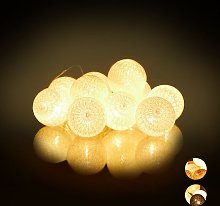 LED String Lights with 10 Cotton Balls,