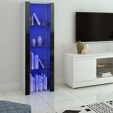 LED Tall Display Cabinet with Glass Shelf,High