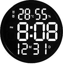 LED Wall Clock Modern Mute Digital Temperature And