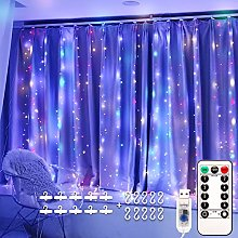 LED Window Curtain String Light Multicolor, Remote