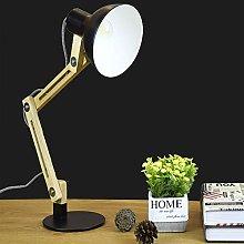 LED Wood Swing Arm Desk Lamp, Black Adjustable