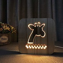 LED Wooden Light 3D Giraffe Light USB Operated