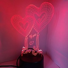 LEDMOMO Heart Love 3D LED Optical Illusion Lamp,7