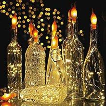 LEEDY Warm String Lights Flame Style Wine Bottle