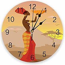 Leeypltm Decorative Wall Clock,African Woman 25CM