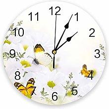Leeypltm Decorative Wall Clock,Butterfly Daisy