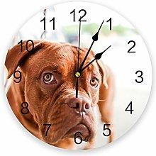 Leeypltm Decorative Wall Clock,Cute Brown Dog 25CM