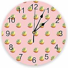 Leeypltm Decorative Wall Clock,Cute Lemon 25CM Non