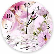 Leeypltm Decorative Wall Clock,Plant Lily Flower