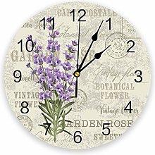 Leeypltm Decorative Wall Clock,Purple Lavender