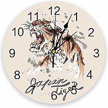 Leeypltm Decorative Wall Clock,Roaring Tiger 25CM