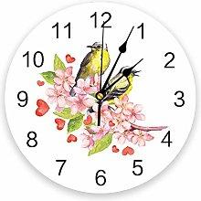 Leeypltm Decorative Wall Clock,Spring Bird Flower