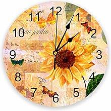 Leeypltm Decorative Wall Clock,Sunflower Butterfly