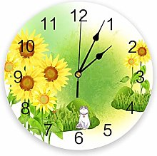 Leeypltm Decorative Wall Clock,Sunflower Flower