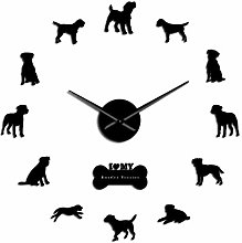 Leeypltm DIY 3D Stickers Clock,Border Terrier