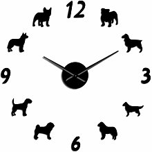 Leeypltm DIY 3D Stickers Clock,Different Dog