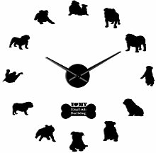 Leeypltm DIY 3D Stickers Clock,English Bulldog