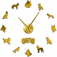 Leeypltm DIY 3D Stickers Clock,German Shepherd