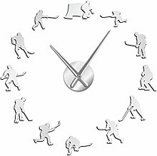Leeypltm DIY 3D Stickers Clock,Hockey 37 inch
