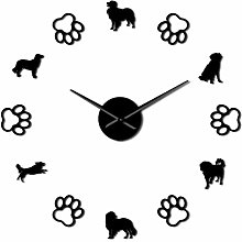 Leeypltm DIY 3D Stickers Clock,Netherlands Dog