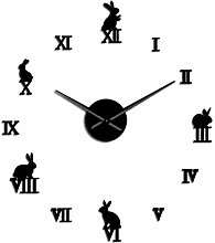 Leeypltm DIY 3D Stickers Clock,Rabbit With Roman