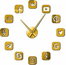 Leeypltm DIY 3D Stickers Clock,Social Media