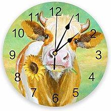 Leeypltm Modern Operated Silent Wall Clock,Cow