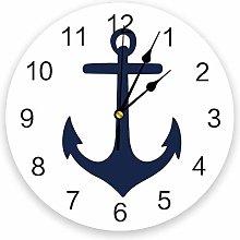 Leeypltm Numeral Clock Round,Anchor Blue White