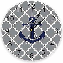 Leeypltm Numeral Clock Round,Anchor Checkered 25CM