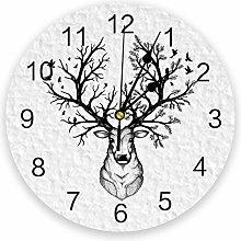 Leeypltm Numeral Clock Round,Cartoon Elk Branch