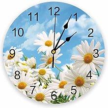 Leeypltm Numeral Clock Round,Chrysanthemum Flower