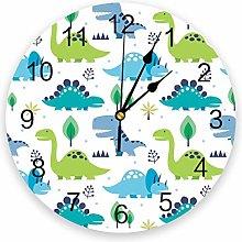 Leeypltm Numeral Clock Round,Dinosaur Cartoon