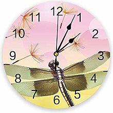 Leeypltm Numeral Clock Round,Dragonfly Dandelion