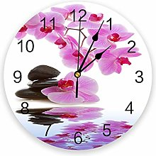 Leeypltm Numeral Clock Round,Flower Pink Orchid