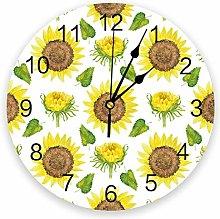 Leeypltm Numeral Clock Round,Flower Sunflower