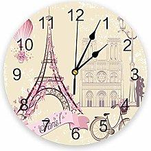 Leeypltm Numeral Clock Round,French Paris Tower