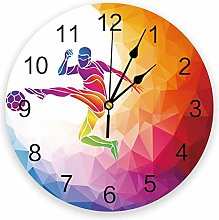 Leeypltm Numeral Clock Round,Geometric Football