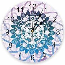 Leeypltm Numeral Clock Round,Mandala Datura 25CM