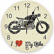 Leeypltm Numeral Clock Round,Motorcycle With I